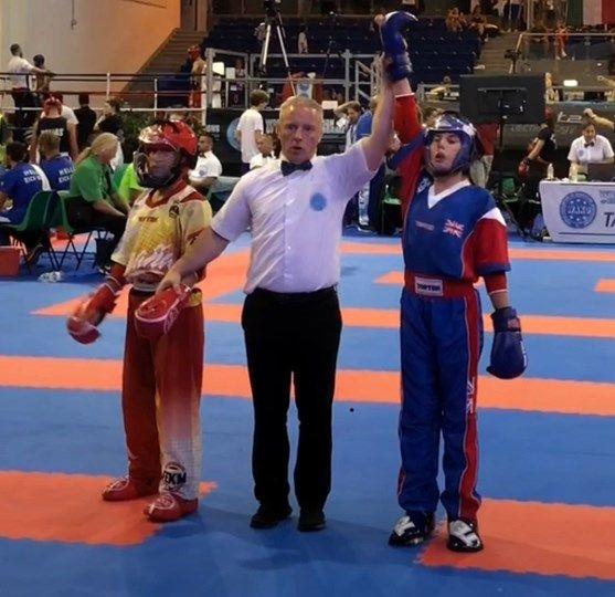 Emily at her kick boxing world championship